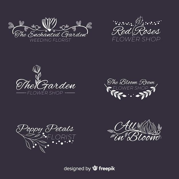 Coleção de modelo de logotipo de florista de casamento Vetor grátis