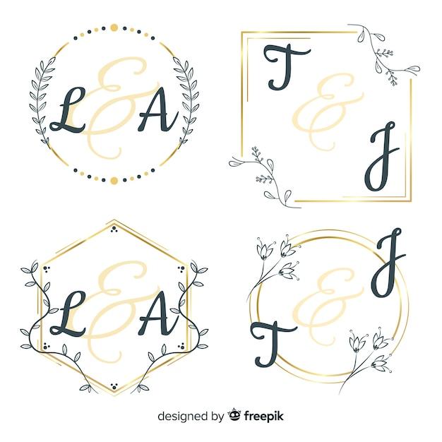 Coleção de modelo de logotipo de monograma de casamento Vetor grátis