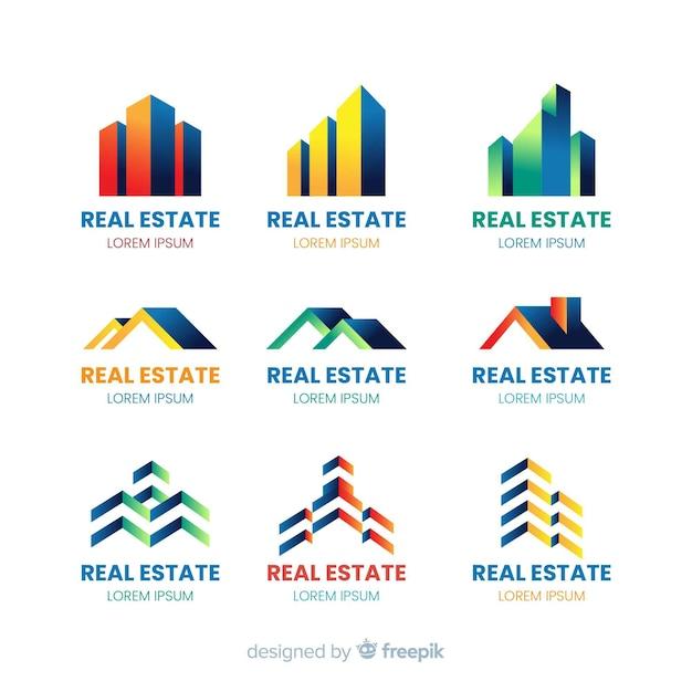 Coleção de modelo de logotipo de negócios imobiliários Vetor grátis