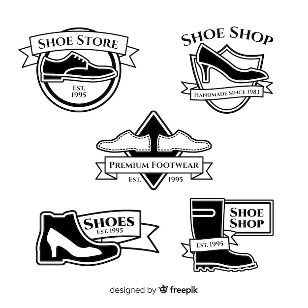 Coleção de modelo de logotipo de sapatos modernos Vetor grátis