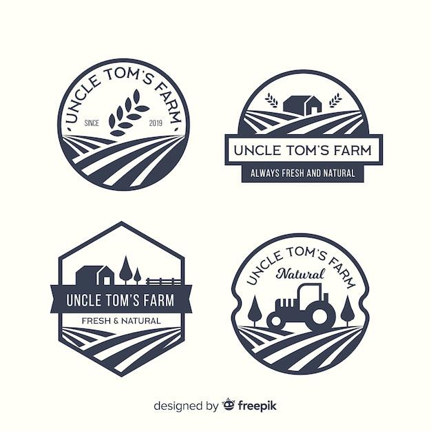 Coleção de modelo de logotipo fazenda plana Vetor Premium