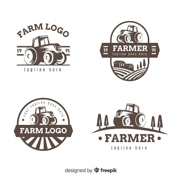 Coleção de modelo de logotipo fazenda plana Vetor grátis