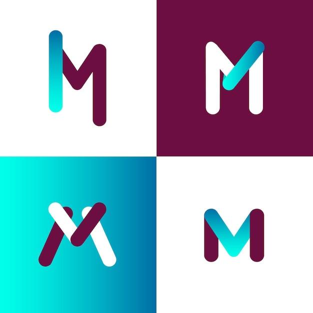 Coleção de modelo de logotipo m Vetor Premium