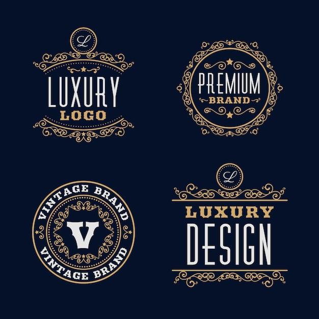 Coleção de modelo de logotipo retrô de luxo Vetor grátis