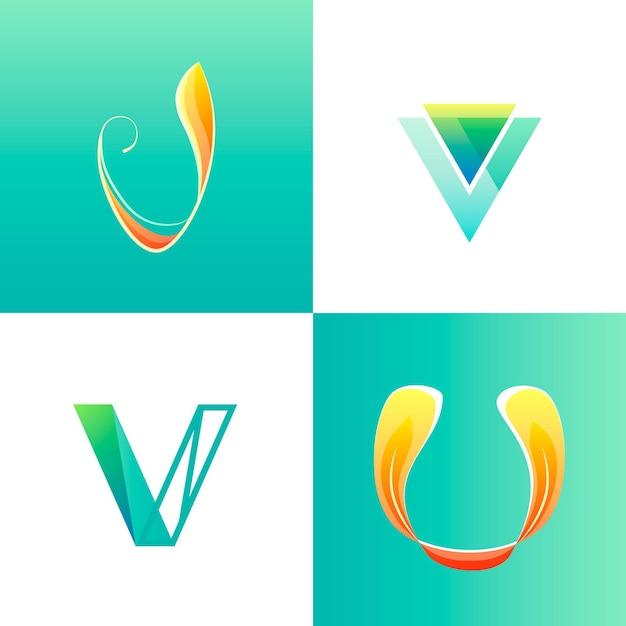 Coleção de modelo de logotipo v Vetor grátis
