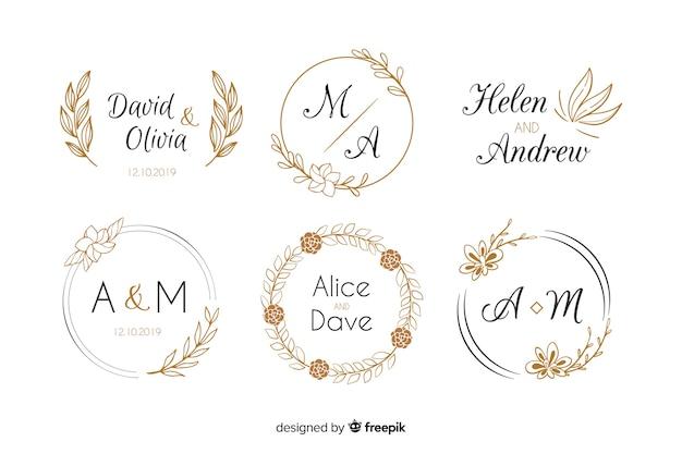 Coleção de modelo de logotipos de monograma de casamento Vetor Premium