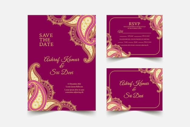 Coleção de modelo de papelaria casamento indiano Vetor Premium