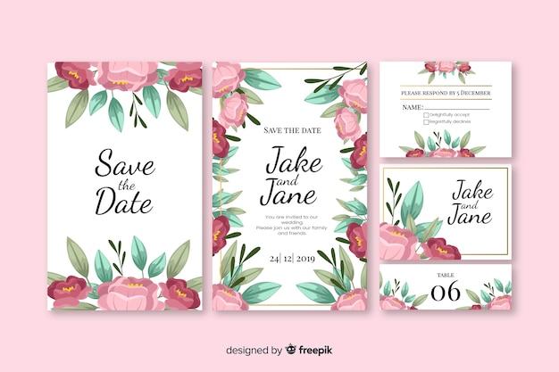 Coleção de modelo de papelaria floral casamento Vetor grátis