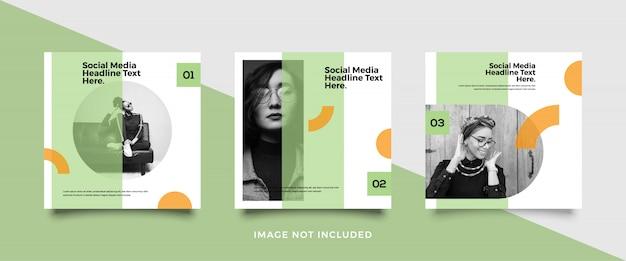 Coleção de modelo de postagem de mídia social minimalista Vetor Premium