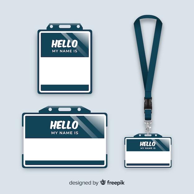 Coleção de modelo de tag de nome com design realista Vetor grátis