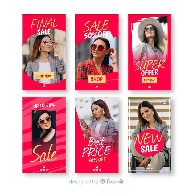 Coleção de modelo de venda de histórias do instagram Vetor grátis