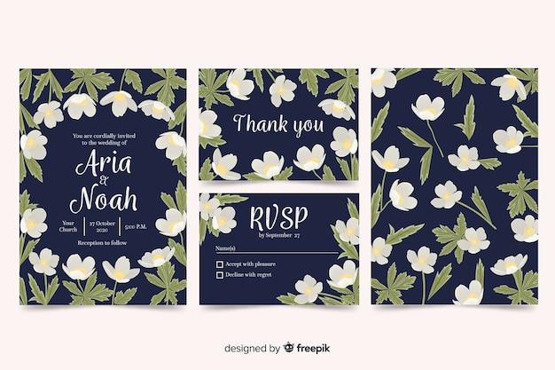 Coleção de modelo estacionário de casamento floral Vetor grátis