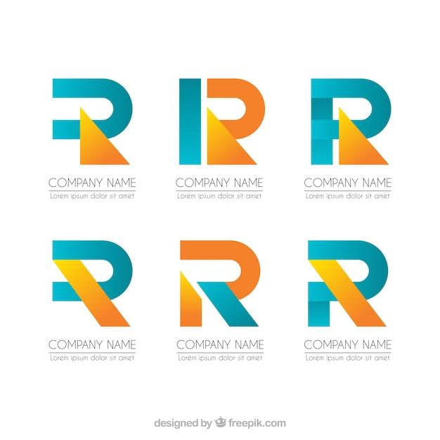 Coleção de modelo geométrico da letra r da letra Vetor grátis