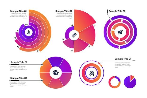 Coleção de modelo infográfico radial Vetor Premium