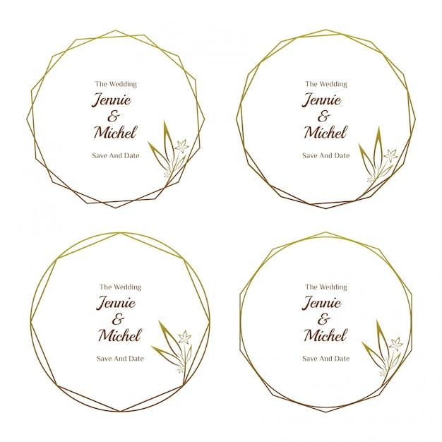 Coleção de modelo minimalista de convite de casamento floral dourado Vetor Premium