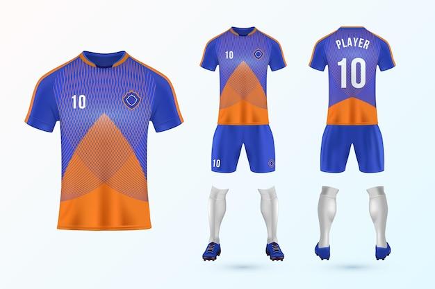 Coleção de modelo uniforme de futebol Vetor Premium