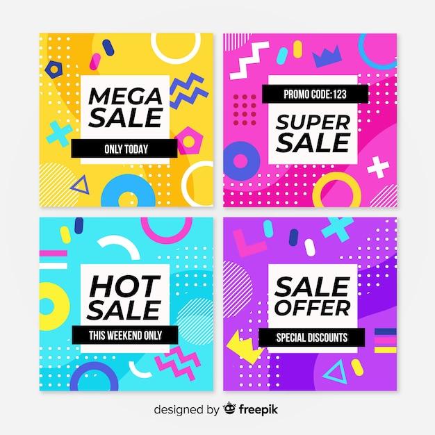 Coleção de modelos de banner de venda de memphis Vetor grátis