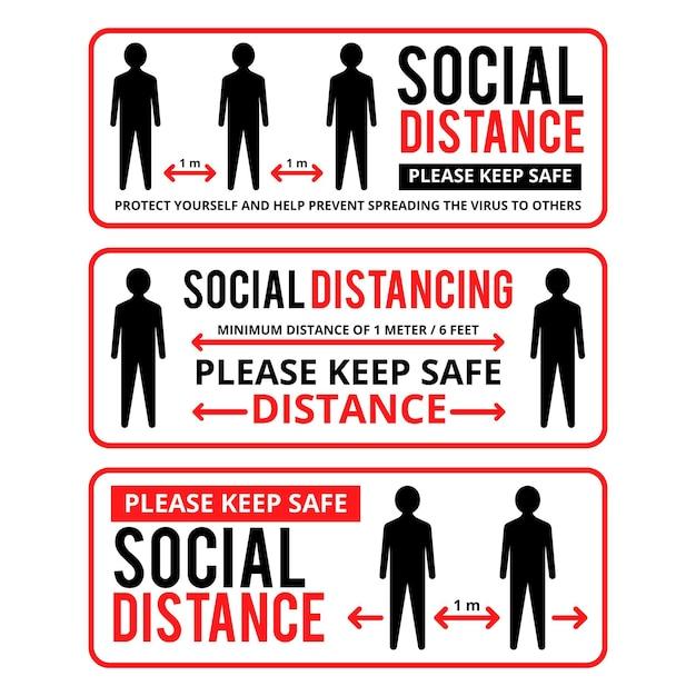 Coleção de modelos de banner para distanciamento social Vetor grátis