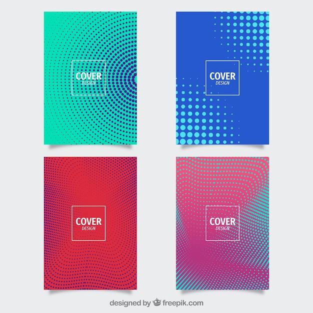Coleção de modelos de capa com padrões de meio-tom Vetor grátis