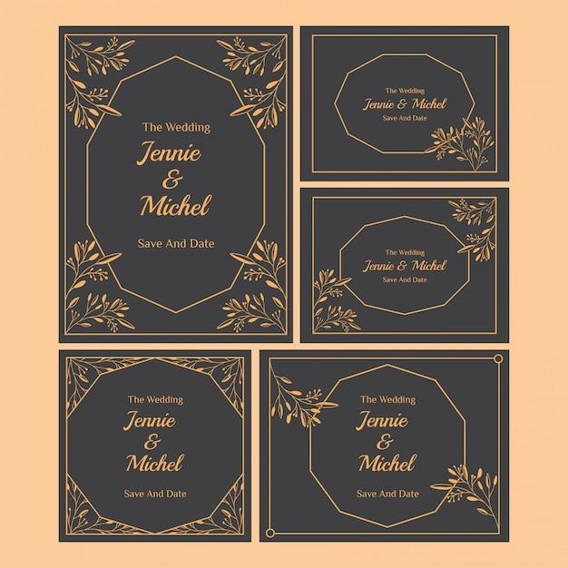 Coleção de modelos de convite de casamento floral Vetor Premium