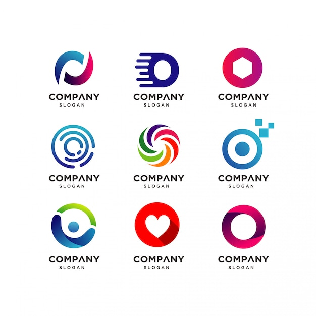 Coleção de modelos de design de logotipo de letra o Vetor Premium