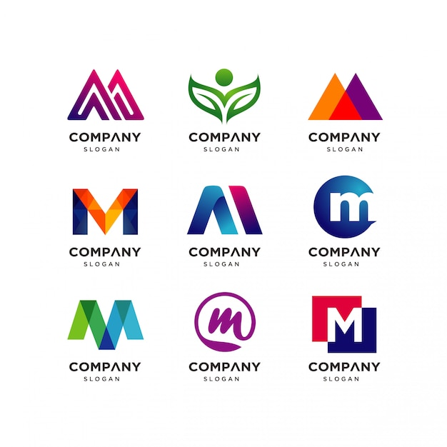 Coleção de modelos de design de logotipo letra m Vetor Premium