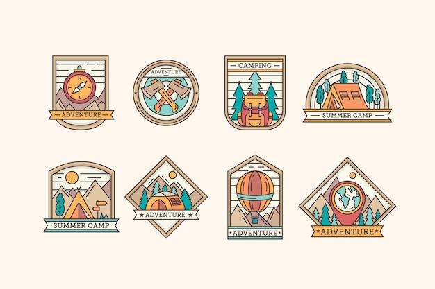 Coleção de modelos de emblemas vintage de acampamento e aventuras Vetor grátis