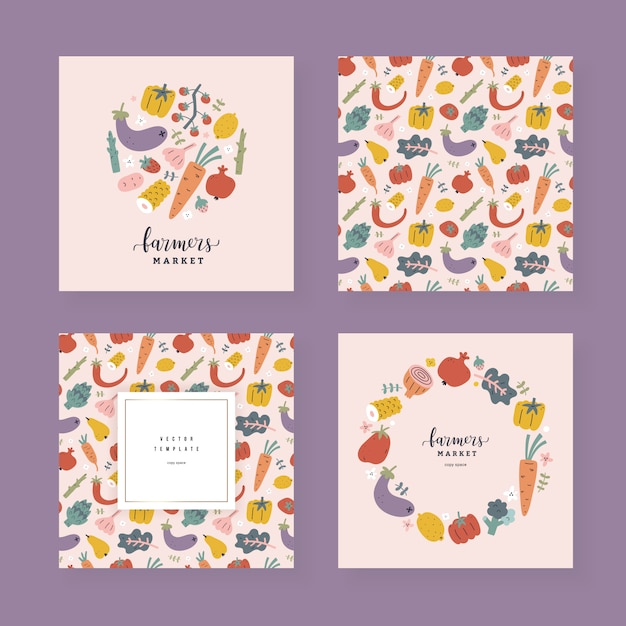 Coleção de modelos de frutas e vegetais com espaço de cópia, quadros decorativos com ilustrações de mão desenhada Vetor Premium