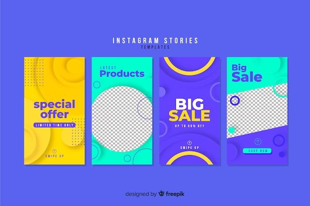 Coleção de modelos de histórias do instagram de venda Vetor grátis