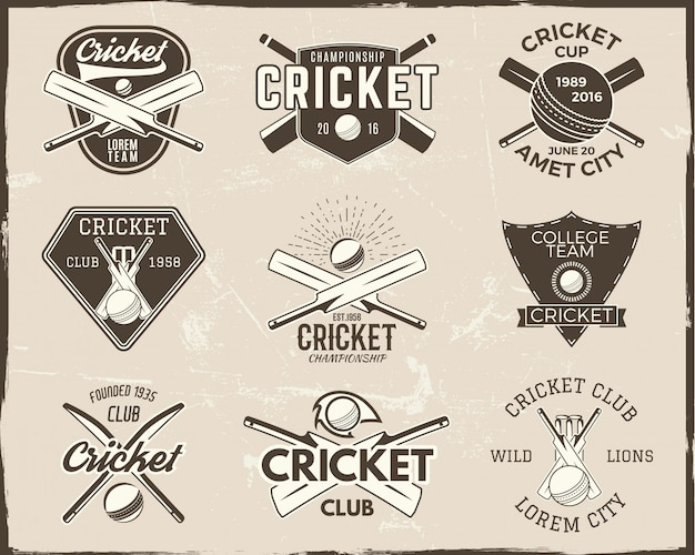 Coleção de modelos de logotipo de críquete. emblema de esportes Vetor Premium