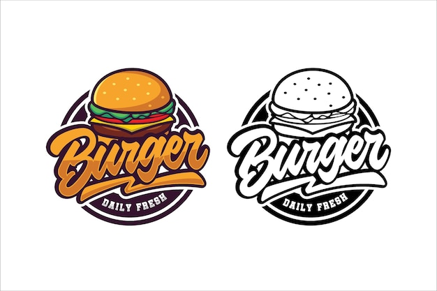 Coleção de modelos de logotipo de hambúrguer Vetor Premium