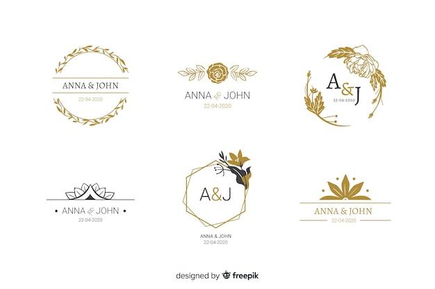 Coleção de modelos de logotipo de monograma de casamento Vetor grátis
