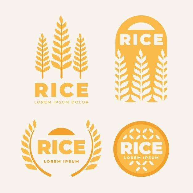 Coleção de modelos de logotipo do arroz Vetor Premium