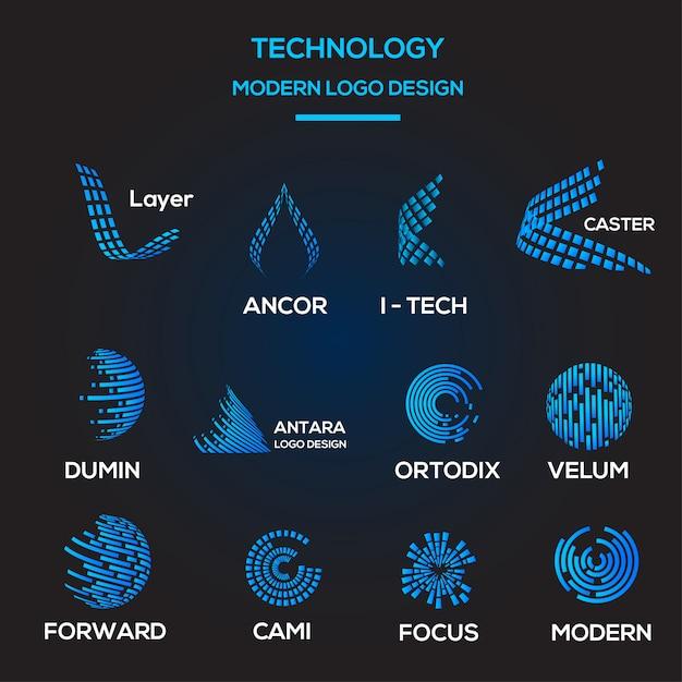 Coleção de modelos de logotipo tecnológico Vetor Premium