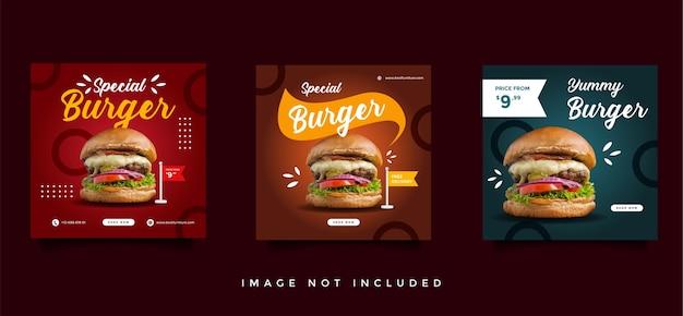 Coleção de modelos de promoção de mídia social de culinária e culinária Vetor Premium