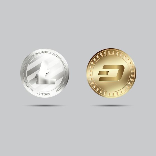 Coleção de moedas criptocurrency Vetor grátis
