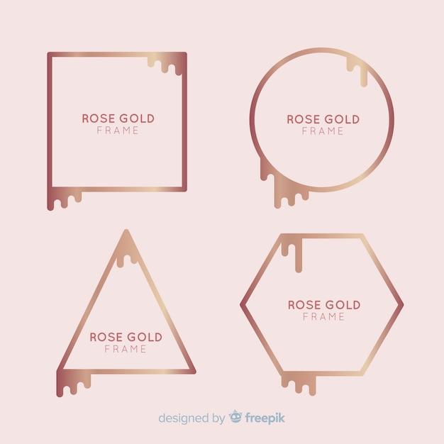 Coleção de moldura de ouro rosa Vetor grátis