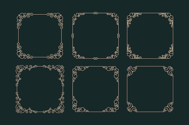 Coleção de molduras ornamentais retrô Vetor grátis