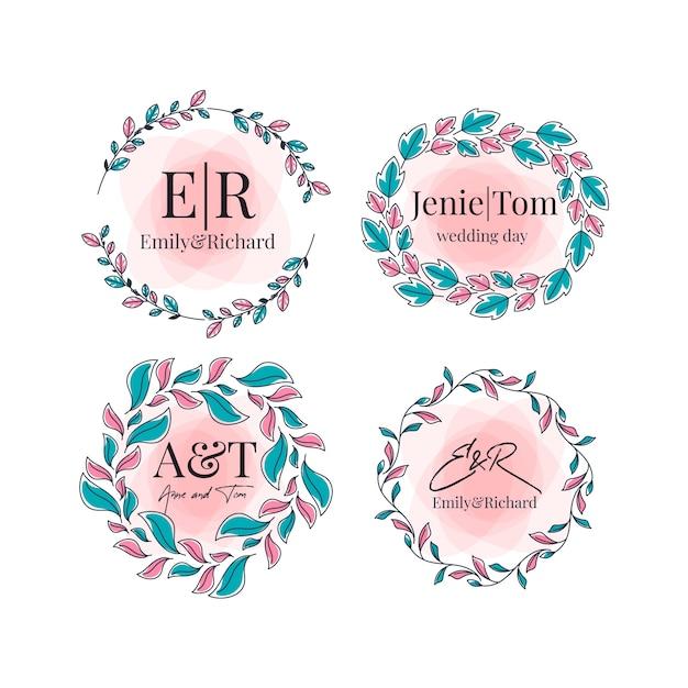 Coleção de monograma de casamento colorido Vetor grátis
