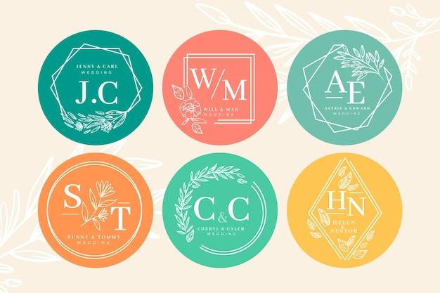 Coleção de monograma de casamento colorido Vetor Premium