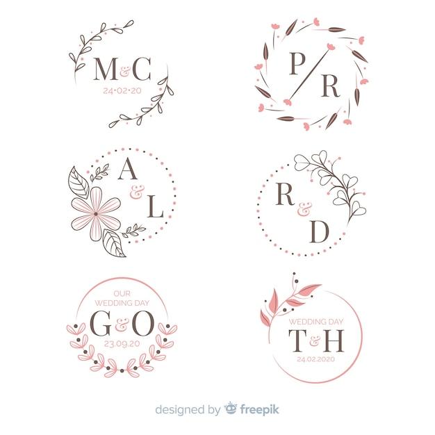 Coleção de monograma de casamento ornamental Vetor grátis