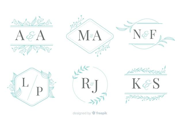 Coleção de monograma elegante casamento ornamental Vetor grátis
