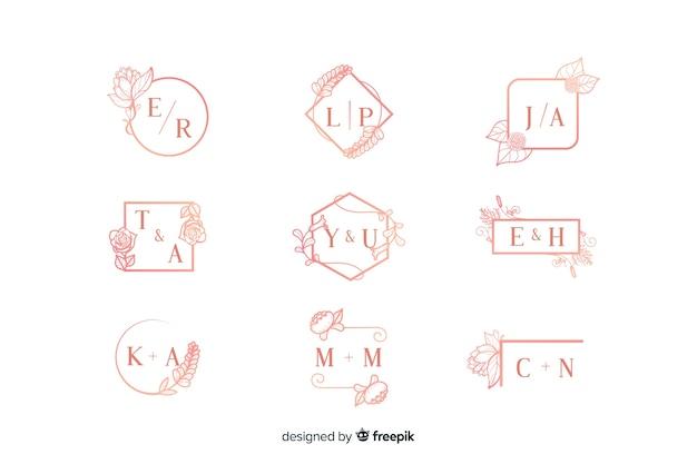 Coleção de monograma rosa casamento ornamental Vetor grátis
