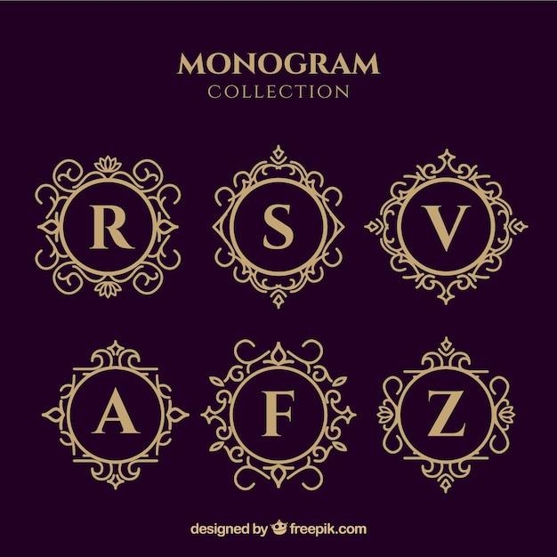 Coleção de monogramas de ouro elegante Vetor grátis