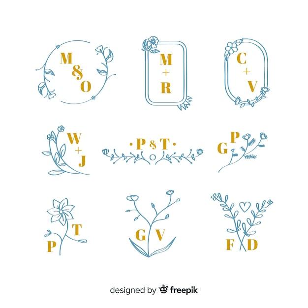 Coleção de monogramas elegantes de casamento Vetor grátis
