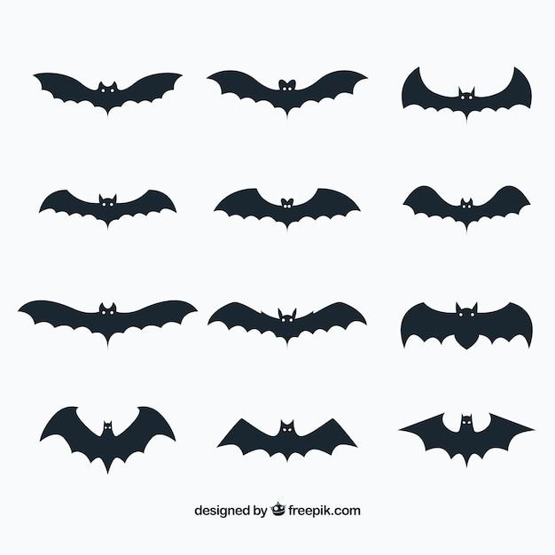 Coleção de morcegos em design plano Vetor grátis