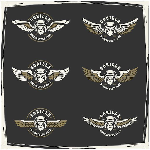Coleção de motoclube e logotipo de garagem Vetor Premium