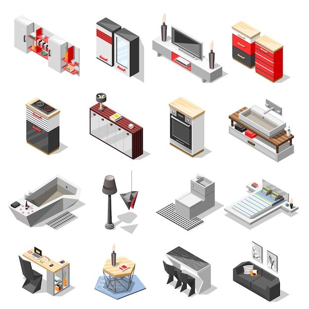 Coleção de móveis de interior de alta tecnologia Vetor grátis