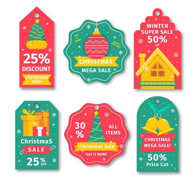Coleção de natal de marca de venda em tons de amarelos e verdes vermelhos Vetor grátis