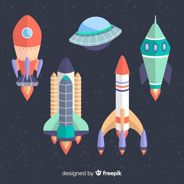 Coleção de nave espacial colorida com design plano Vetor grátis
